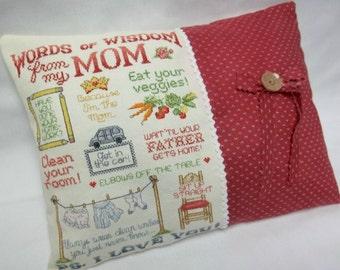 Mom Words Of Wisdom Cross Stitch Mini Pillow Shelf Pillow