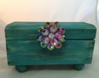 Distressed Turquoise Decorative Box