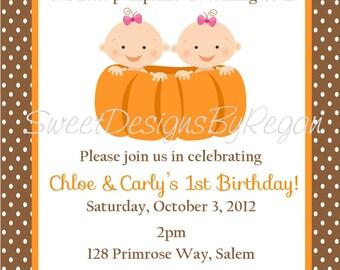 Twin Pumpkins Birthday Invitation - (Digital File) / Pumpkin Birthday Invitation Twins - Pumpkin Invitation - Two Pumpkins Birthday Invite