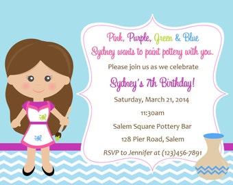 Pottery Birthday Invitation  -  (Digital File)