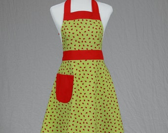 Cute Womens Full Handmade Apron with Lady Bug Fabric in Red and Green