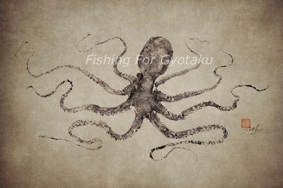 GYOTAKU print - traditional Japanese fish art - OCTOPUS (2) by dowaito