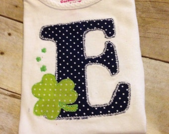 Initial St. Patrick's day clover shirt