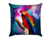 Outer Space Parrot - Original Graphic Sofa Throw Pillow