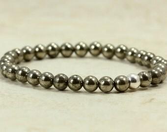 Stacking Pyrite Bracelet, Stretch Bracelet, Elastic Bracelet, Gold Tone Bracelet