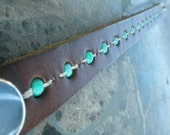 Brown Leather Wristband Cuff Turquoise Beads Tough Bracelet with Snap BRN-68-1