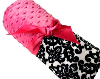Stroller Size Pet Blanket Black and White Damask with Hot Pink Minky Back Personilization included