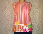 Clearance Sale XL Sleeveless Button Front Top Boho Hippie Upcycled Upscaled Altered Clothing Colorful Funky Eco Chic
