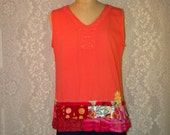 Sleeveless Pullover Cotton Top Boho Hippie Upcycled Upscaled Altered Eco Clothing Colorful Funky