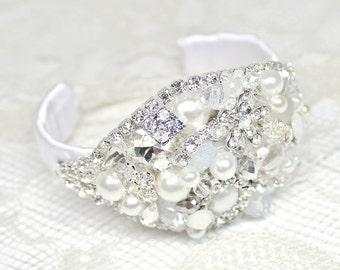 Bridal Cuff Bracelet- Wedding Statement Bracelet- Pearl Bracelet- Bridal Jewelry-Rhinestone bracelet -Brooch bracelet-OOAK-Bridal white cuff