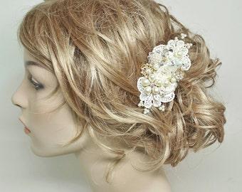 Bridal Comb-Ivory Bridal Hair Comb- Bridal Hair Accessories- Ivory Wedding Hair Accessories- Bridal Hairpiece-Brass Boheme