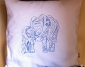 Mother and baby boy Elephant block printed scatter cushion cover