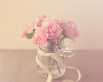 stilllife flower photograph - whimsical fine art photography, flower photography, pink, photography, photo print, wall art, home decor, art