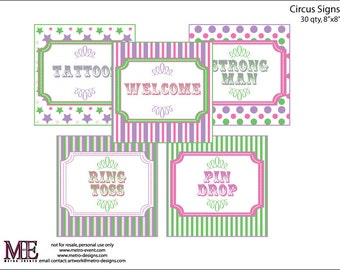 Instant Download - 30qty Circus/Carnival Signs