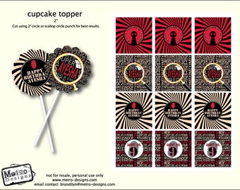 Spy Party - Favor Tags or Cupcake Toppers