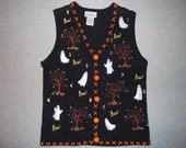 Haunted Halloween Ghostly Boo Sweater Vest Button Up All Hallows Eve Ghost Ghosts Tacky Gaudy Ugly Christmas Party X-Mas S Small