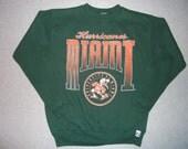 Vintage Miami Hurricanes Green Sweatshirt Football Winter Warm Sebastian The Ibis Logo 7 Made In USA M Medium