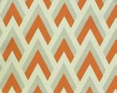 "TWO Curtain Panels, 25"" x 84"" - Orange, Light Grey, and Cream"