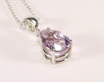 Amethyst ('Rose de France' Amethyst), 12mm x  8mm x 2.90 Carat, Pear Cut, Sterling Silver Pendant Necklace