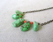 SALE 30% OFF - Mint & Coral Statement Necklace, Stone, Modern, Gift For Her