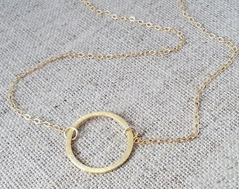 Gold Brushed Circle Necklace. Gold Filled  Circle Necklace. Circle Necklace. Circle Of Life Necklace. Eternity. Minimal Dainty Delicate