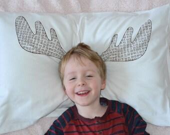 Moose antlers screen printed pillowcase