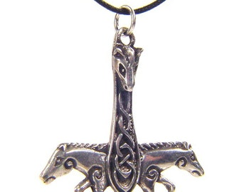Thor's Hammer Necklace Pewter  Pendant Viking Norse Mjollnir Pagan Wicca 5104A