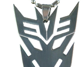 Stainless Steel  Decepticon Transformer Symbol Necklace Pendant Keychain 4141E