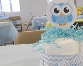 4 Mini Diaper Cakes & Banner Baby Shower Decor Baby Shower Decoration Kit Set