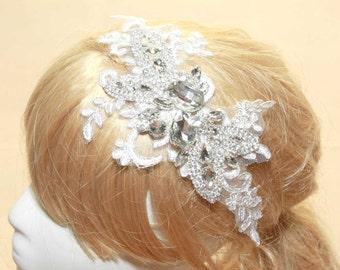 Stunning Lace Fascinator ,Rhinestone Headband, Bridal Hair Peice, Wedding Hair Clip, Wedding Headband, Lace Headband, Rhinestone Headband