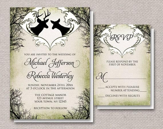Deer Wedding Invitations: Rustic Deer Frame Wedding Invitations By ArtisticallyInvited