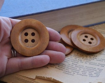 5 pcs LARGE Light Stain Coffee Colored Wood Buttons 5cm 2 inch 4 Hole (WB929)