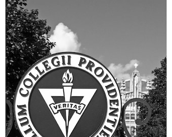 Providence College Seal, black and white Photo Print