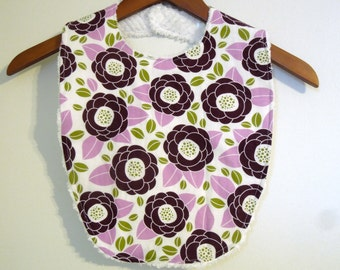 Purple Flower Toddler Bib - Toddler Girl Bib