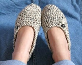 Cozy Natural Colored Womens Crocheted Slippers