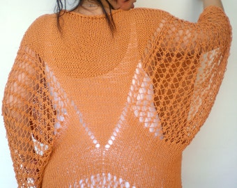 SALE Orange Butterfly  Oversized Poncho Sweater  Hand Knit    Woman Trendy Lace Tunic  sweater Fall Woman Spring/Summer Collection NEW
