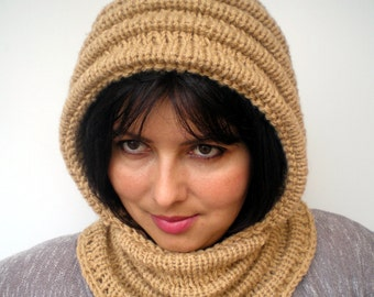 Honney Beige Wave Chunky Knit Hood  Soft Woman Hooded Scarf Cowl Fall Winter Accesories NEW