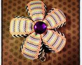 Black, Orange and Purple Flower Badge Reel...Badge Reels...Womens Accessories...Flowers
