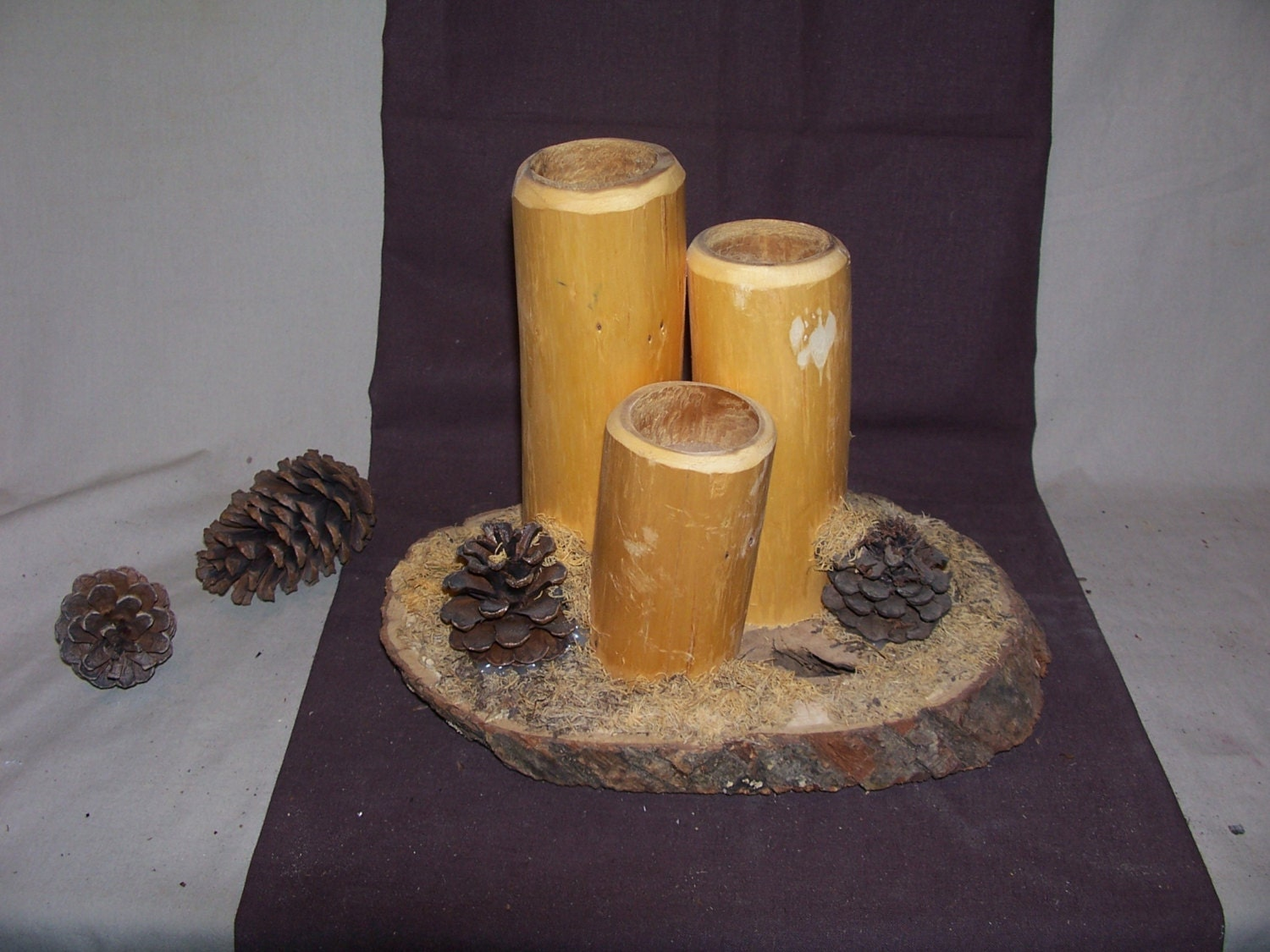 Rustic cedar log tea light candle holder by for Log candle holder how to make