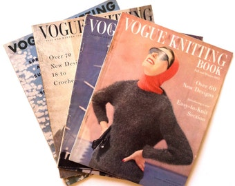 50's VOGUE KNITTING BOOKS - Set of 4 / 53' to 55' / Rare / Collectible / Fashion / Photography / Women