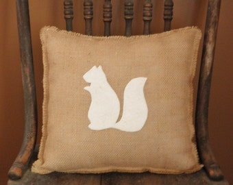 "12"" x 12"" Burlap Fringe Pillow with Squirrel Applique-Wildlife Collection-Choose Your Colors-Rustic/Country/Folk/Natural-Cabin Decor"