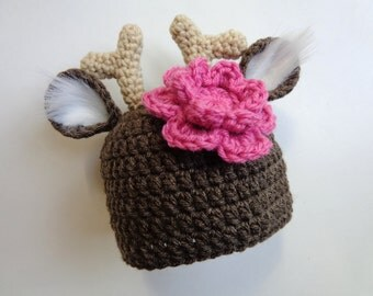 Newborn Crochet White Tail Deer Hat- Girls Hat