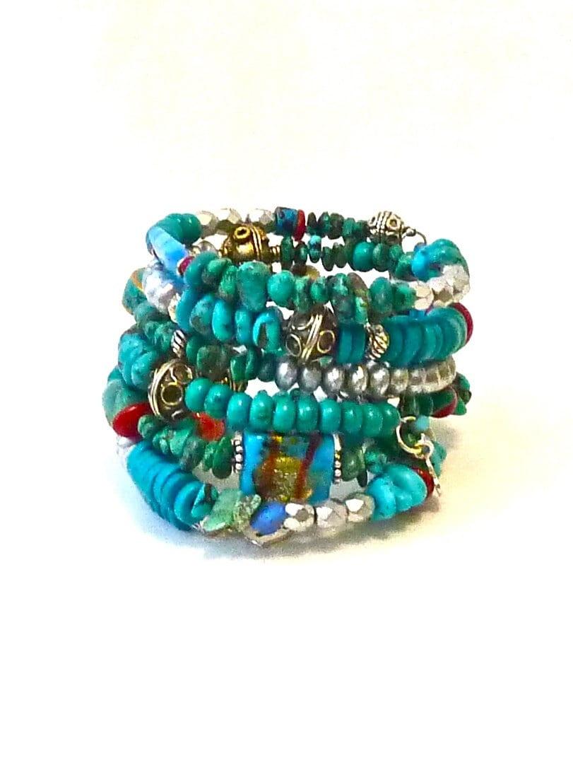 beaded boho bracelet turquoise gemstones stackable