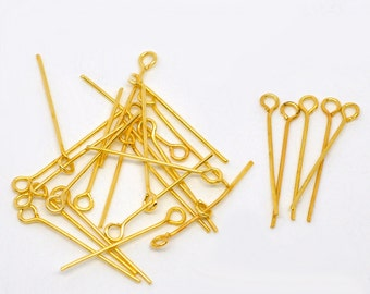 50pc Gold Plated Eye Pin - 24mm + 21 Gauge -  Jewelry Finding, Jewelry Making Supplies, Lead Free Earring Finding, Ships from the USA - HP18