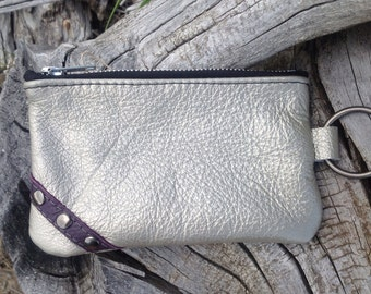 "Silver Leather ""Finglet"" Purse & Purple Leather design-- Soft Leather Purse - One Of A Kind - Handmade - Gifts for Her"