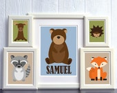 Woodland Animal Nursery Print Set - 11x14, 2 8x10, and 2 5x7 Prints - FREE SHIPPING