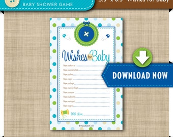 Wishes for Baby Printable Card | Cute as a Button Baby Shower Party | Blue Boy | Invitation and Decorations Available INSTANT DOWNLOAD