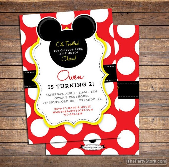 Mickey Mouse Invitation Mickey Mouse Birthday Invitations Mickey
