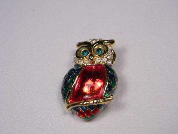 Reserved For C, Vintage Brooch, Owl, Green, Red Enamel, Rhinestones, Figural, Bird