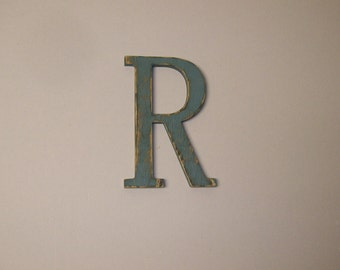 12-inch Distressed Wood Letter R Wall Hanging Monogram Initial